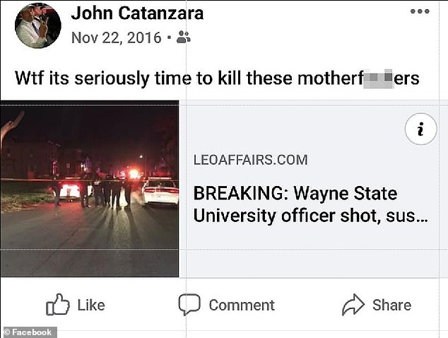 Facebook post by Catanzara with a link to the shooting of an officer